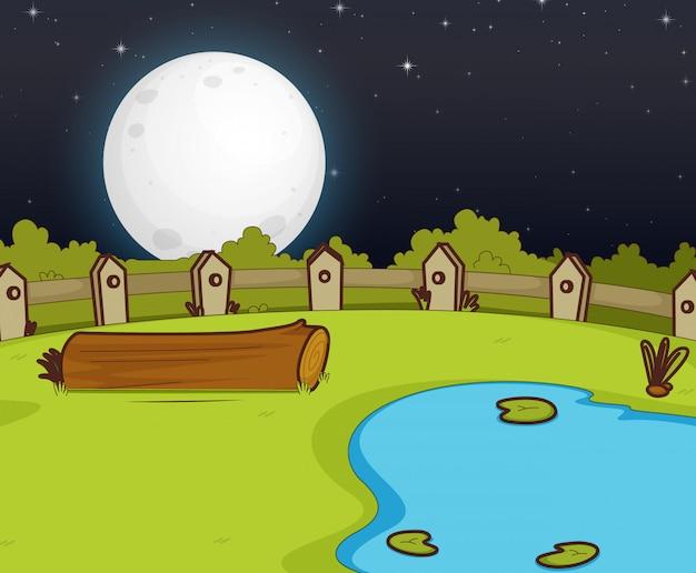 Escena de la granja con pantano y luna grande en la noche