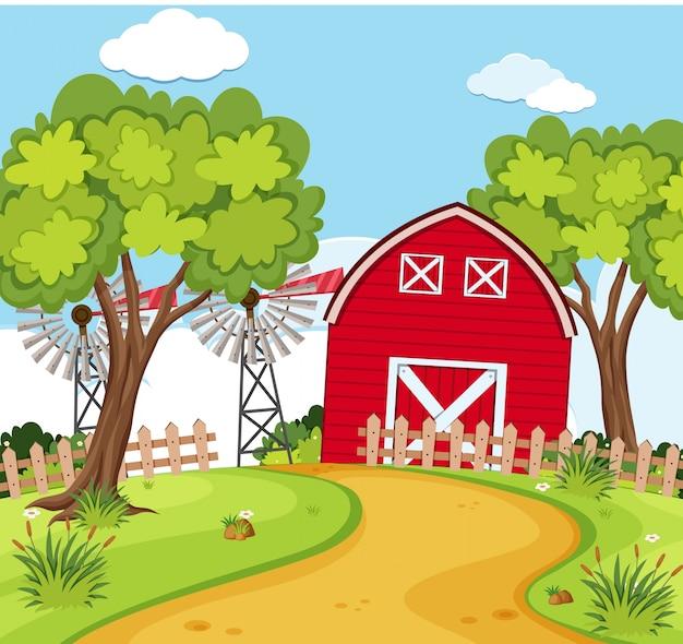 Escena de la granja con pequeño granero y turbinas