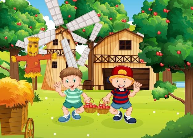 Escena de la granja con personaje de dibujos animados de niño granjero