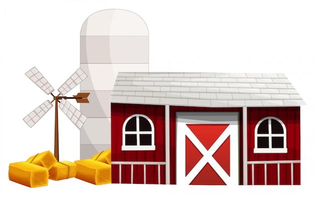 Escena de la granja con silo y granero