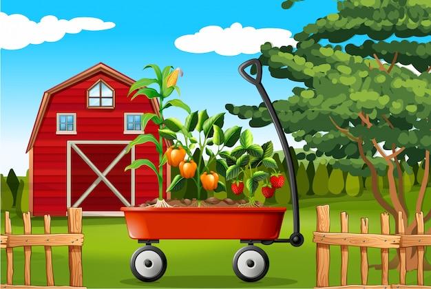 Escena de la granja con verduras en carro