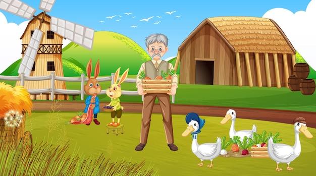 Escena de la granja con viejo granjero y animales de granja.
