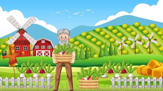 Escena de la granja con el viejo granjero y animales de granja.