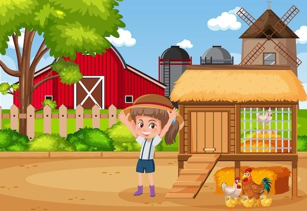Escena con granjera y gallinas en la granja.