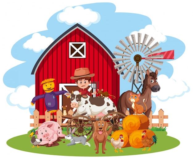 Escena con granjero y muchos animales sobre fondo blanco.