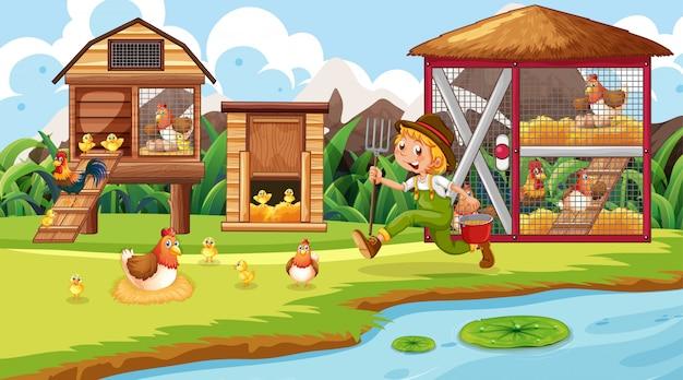 Escena de granjero y pollo