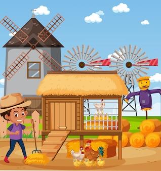 Escena con granjeros alimentando pollos en la granja