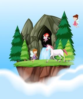 Escena de hadas y unicornio