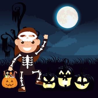 Escena de halloween con calabazas y katrina disfrazada de niño