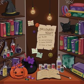 Escena de halloween habitación de brujas. decoraciones para halloween festivo. plantilla de halloween.