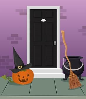 Escena de halloween con puerta de casa y calabaza