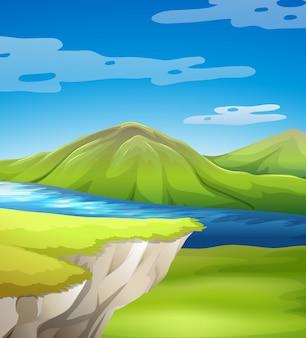 Escena hermosa del acantilado con lago