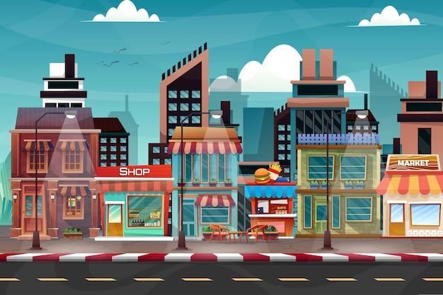 Escena del hermoso paisaje urbano con edificio alto, tienda y calle con parque