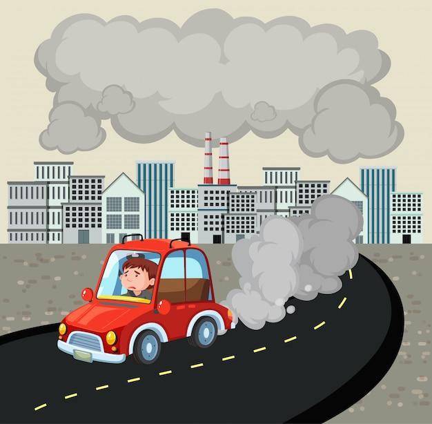Escena con hombre conduciendo un coche en la ciudad llena de mal aire