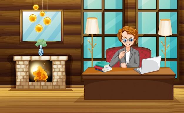 Escena con hombre trabajando en la computadora en casa