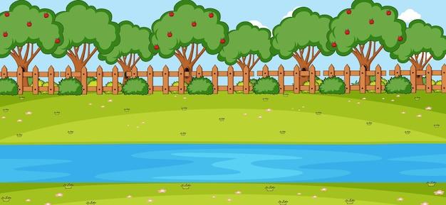 Escena horizontal en blanco con río en el parque