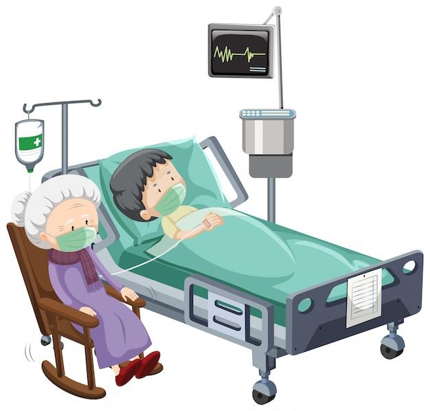 Escena del hospital con paciente enfermo en cama sobre fondo blanco.