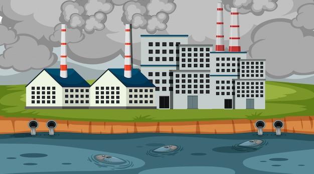 Escena con humo y agua sucia saliendo del edificio de la fábrica