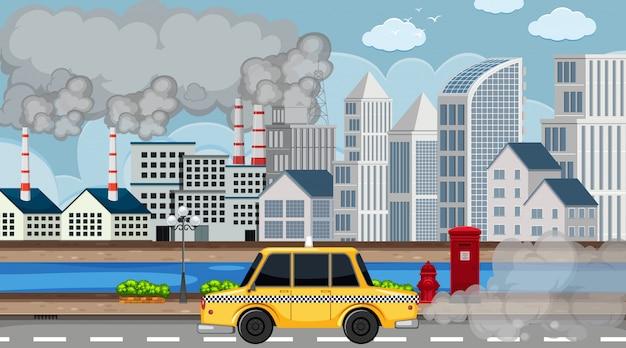 Escena con humo saliendo de las fábricas y automóviles de la ciudad.