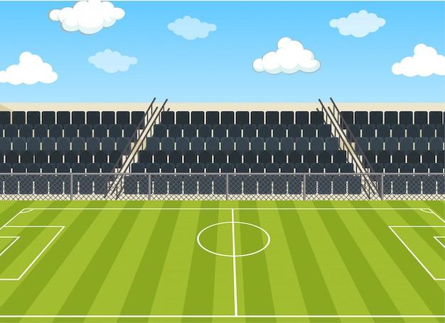 Escena de ilustración con campo de fútbol y estadio