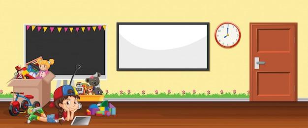 Escena de ilustración con pizarra y juguetes