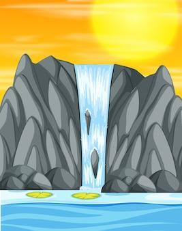 Escena de ilustración de puesta de sol de cascada