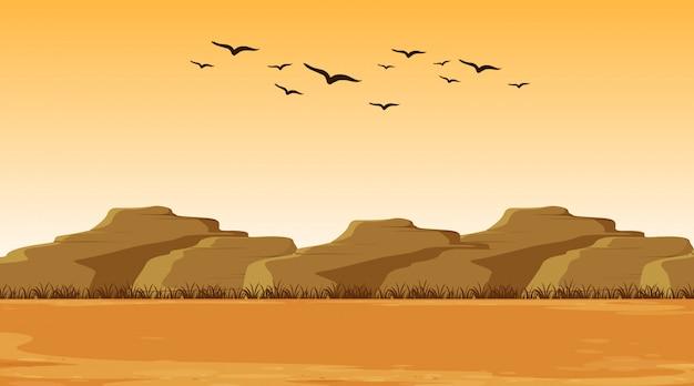 Escena de ilustración con tierra seca y colinas