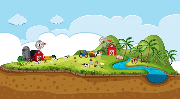 Escena de ilustración de tierras de cultivo con animales