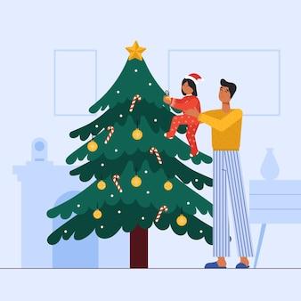 Escena ilustrada de personas decorando un árbol juntos.