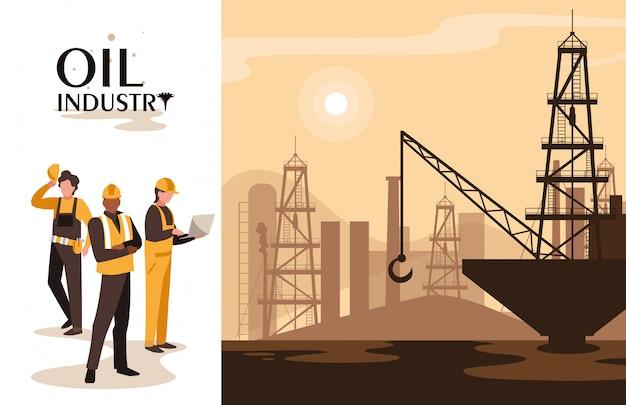 Escena de la industria petrolera con plataforma marina y trabajadores