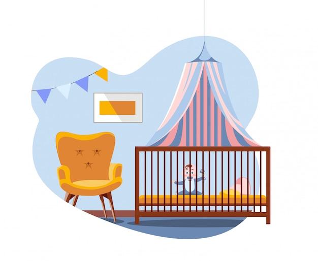 Escena en el interior de la guardería. bebé en la cama bajo un dosel junto a una silla suave y cómoda. cuarto del bebé