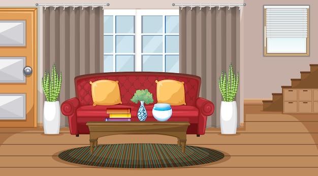 Escena interior de sala de estar con muebles y decoración de sala de estar.