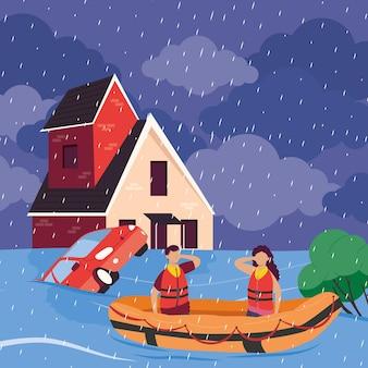 Escena de inundación del paisaje urbano
