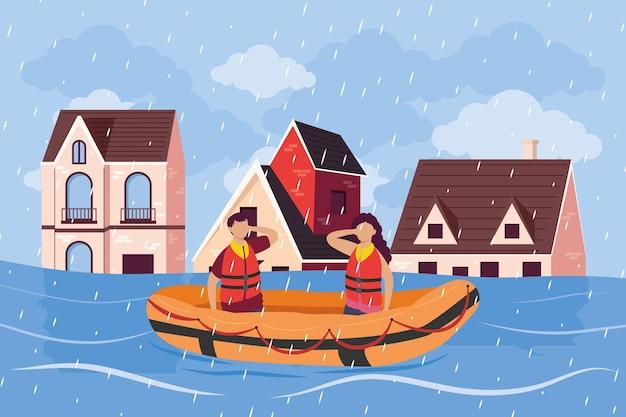 Escena de inundación de personas
