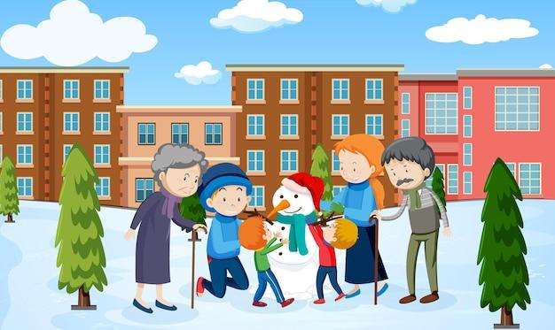 Escena de invierno al aire libre con un miembro de la familia.