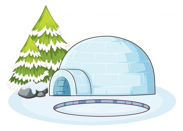 Escena de invierno con iglú