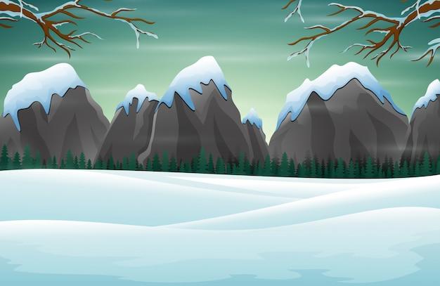 Escena de invierno con montañas nevadas rocas colinas