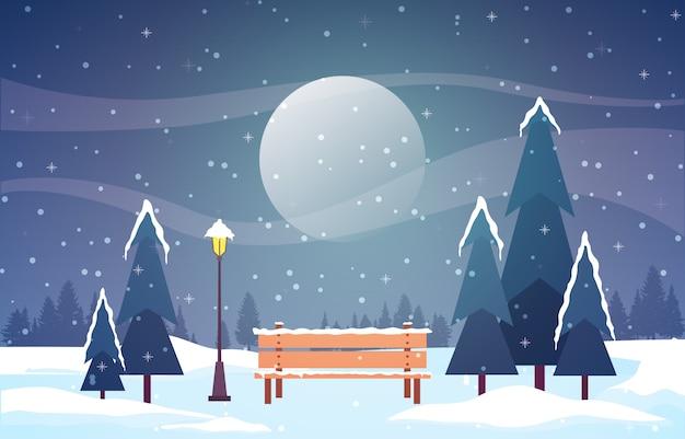 Escena de invierno paisaje de nieve con pinos montaña