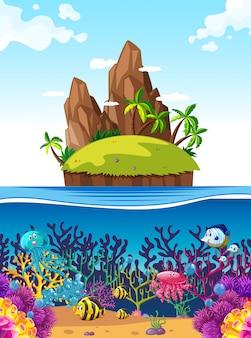 Escena con isla y peces bajo el mar.
