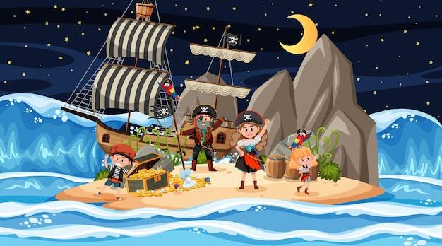 Escena de la isla del tesoro por la noche con niños piratas