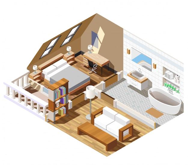 Escena isométrica del interior del apartamento