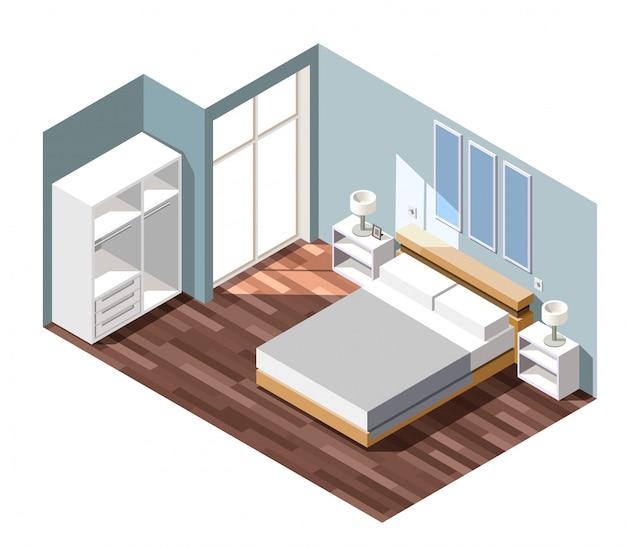 Escena isométrica interior del dormitorio