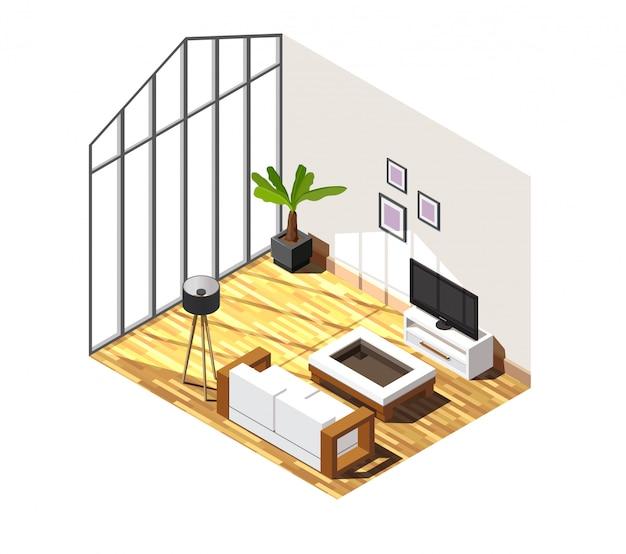 Escena isométrica interior de sala de estar