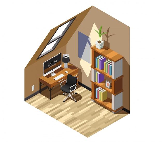 Escena isométrica del lugar de trabajo casero