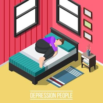 Escena isométrica de personas de depresión