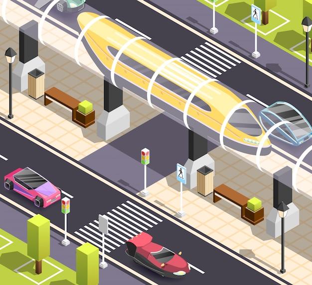 Escena isométrica de transporte futurista