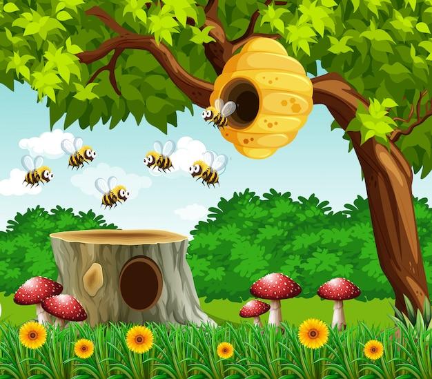 Escena de jardín con abejas volando