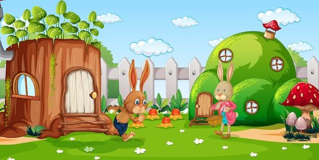 Escena de jardín con personaje de dibujos animados de la familia de conejos