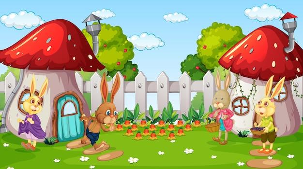 Escena de jardín con personaje de dibujos animados de muchos conejos
