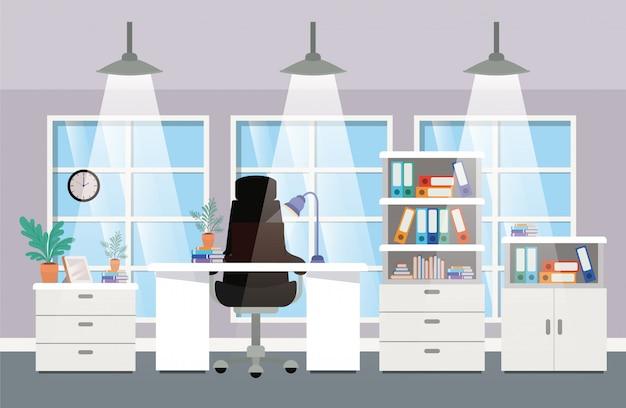 Escena de jefe de oficina moderna